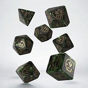 Dragons Dice Set bottle green & gold (7)