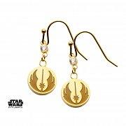 Star Wars Earrings Jedi Symbol & Cubic Zirconia (gold plated)
