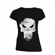 The Punisher Ladies T-Shirt Distressed Skull